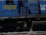 CSX SD40-2 #8838, with a homemade L&N tribute in the grime covered white stripe on the frame, 